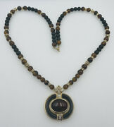 Christian Dior Germany Vintage Gold Plated Rhinestone Glass Beaded Necklace