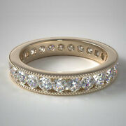 14k Yellow Gold 1.50 Ct Lab Grown Diamond Wedding Eternity Band Sizes Available