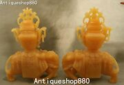 13 Natural Yellow Jade Carved Wealth Elephant Animal Zun Cup Vase Pitcher Pair