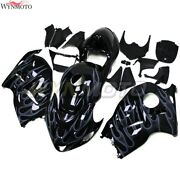 Motorcycle Abs Fairings For Suzuki Gsxr1300 1997 - 2007 Black With White Flames