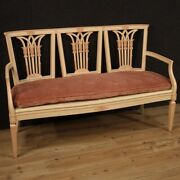 Lacquered Sofa Painted Furniture Antique Louis Xvi Style Straw 20th Century 900