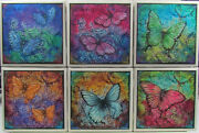 Handmade Natural Stone Ceramic Tile Drink Coasters - Set Of 6 - Butterfly 8a