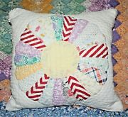 Throw Pillow Made From Vintage 1930's Farmhouse Dresden Plate Quilt