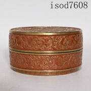 Chinese Antique Qianlong Lacquer Red Carving Gilding Dragon Pattern Printing Box