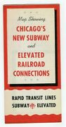 1940's Map Chicago Illinois New Subway And Elevated Railroad Connections Guide