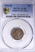 1944-d/s Lincoln Wheat Cent Penny Pcgs Au50 Omm Fs-512 Free Shipping Acet