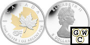 2013and03925th Anniversaryand039gold-plated 1oz Silver Maple Leaf Coin .9999 Fine13142nt