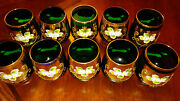 Bohemia Vintage Set Of 10 Small Glasses Green And Gold Flower Enamel