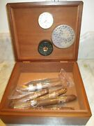 Hm Mist Wood Cigar Humidor W/ Hygrometer And 5 Cigars And Colibri Cutter Euc