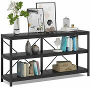 3 Tiers Sofa Table Narrow Long Console Table Tv Stand With Shelves For Hallyway