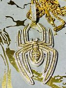 Spider Animal Cute Iced Ice Charm Men Women 14k Gold F Pendant Charm Rope Chain