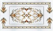 4and039x2.5and039 White Marble Table Top Dining Center Inlay Lapis Mosaic Home Decor G553
