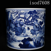 8.6andldquochinese Antique Kangxi Blue And White Five Old Pictures Pen Container