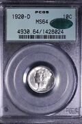 1920-d Mercury Dime Pcgs Ms64 Cac Ogh Free Shipping Rmtx