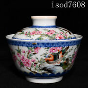 """4.2""""chinese Antique Yongzheng Pastel Flower And Bird Pattern Cover Bowl"""