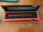 Rotring 600 Trio Matte Black Ballpoint Pen Blue Red And Pencil In Box Knurled New