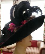 Victorian Hat 1890-1900 X-tra Large Black Beaver Fascinator Show-off Picture Hat