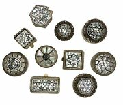 Egyptian Inlay Mother Of Pearl 80 Silver Pill Box Set Of 10