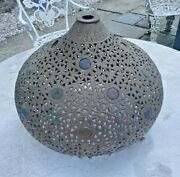 Antique Victorian Pierced Cut Out Cast Metal Jeweled Lamp Shade