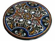 48 Antique Black Marble Dining Center Table Top Round Inlay Home Decor Ke