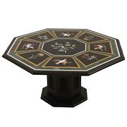 30and039and039 Antique Black Marble Dining Center Bird Table Top Lapis Inlay With Stand