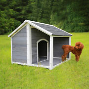 Us Wooden Puppy Dog House Solid Pine Wood Dog Home For Backyard Patio Garden