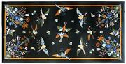 5and039x3and039 Antique Black Marble Bird Center Coffee Table Top Malachite Inlay Decor