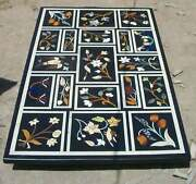 5and039x3and039 Antique Black Marble Center Coffee Bird Table Top Malachite Inlay Decor