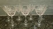 Antique Etched Crystal Cordial Glasses 7 Fostoria 2 Oz Garland Ribbon