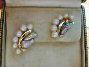 Super Rare Natural Abalone Pearl And Cultured Pearl Earrings In 14k Yellow Gold