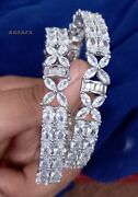 Designer Bollywood Indian Silver Gold Tone Style Cz Ad Bangles Bracelets Jewelry