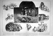 Antique Old Print 1904 Night Hunting Scene Lion Somaliland Shooting Sport 20th