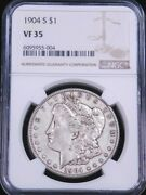 1904-s Morgan Silver Dollar Ngc Vf35 Some Luster, Pq Just Graded Ge950