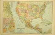 1909 Antique Map United States Mexico West Indies Chicago New York Florida