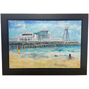 Contemporary Oil Painting Seaside Bournemouth Pier Signed Katharine Dove