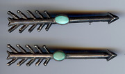 Vintage 1930's Navajo Indian Silver Turquoise Arrow Pin Brooch Pair