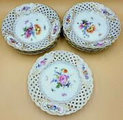 9 Meissen Porcelain Reticulated Flowered Plates