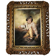 19th Century Early Victorian Oil Painting Young Boy And Rabbit After Henry Raeburn