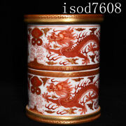 6.2andldquochinese Antique Qianlong Coral Red Dragon Pattern Rotary Pen Holder