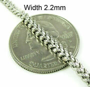 10k Solid White Gold Necklace Diamond Cut Franco Chain 2.2mm 16-24