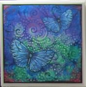Handmade Natural Stone Ceramic Tile Drink Coasters - Set Of 6 - Butterfly 8b