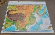 Antique Denoyer Geppert East Asia Visual Relief Map Large Cloth 63x53 12380