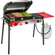 Camp Chef Big Gas Grill 3-burner Outdoor Stove With Bbq Box Accessory New