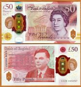Great Britain 50 Pounds 2021 P-397 Qeii Unc Polymer Alan Turing