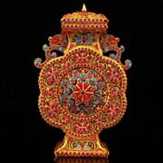 Vintage Gold Wire Inlay Ruby Double Dragon Vase W Box