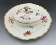 Antique C1765 Meissen Porcelain Covered Sauce Bowl With Attached Platter