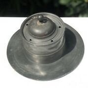 Antique Pewter Ship Boat Marine Nautical Capstan Quill Holding Ink Well Inkwell