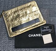 Votez Coco Clutch Bag Gold Leather Sold Out Dust Bag And Cards Runway