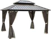 10and039 X 12and039 Outdoor Hardtop Galvanized Steel Roof Double Top Gazebo Canopy