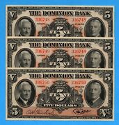 5 1938 The Dominion Bank Canada Chartered Note - Three Consecutive - Au/unc